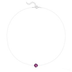 Ras de Cou Cristal 8mm sur Fil Nylon Transparent et Argent - Fuchsia