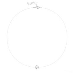 Ras de Cou Cristal 8mm sur Fil Nylon Transparent et Argent - Blanc