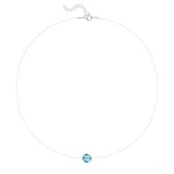 Ras de Cou Cristal 8mm sur Fil Nylon Transparent et Argent - Bleu