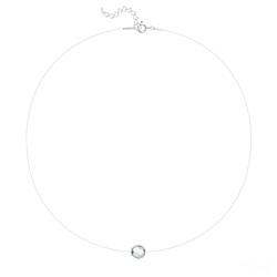 Ras de Cou Cristal 8mm sur Fil Nylon Transparent et Argent - Argenté