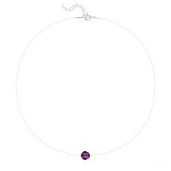 Ras de Cou Cristal 8mm sur Fil Nylon Transparent et Argent - Améthyste