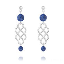 Boucles d'Oreilles Noeud Mystique en Argent et Pierres Naturelles 4mm/6mm - Lapis Lazuli