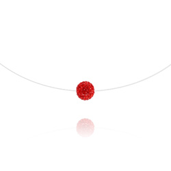 Ras de Cou Disco Ball 8mm sur Fil Nylon Transparent et Argent - Rouge Light Siam