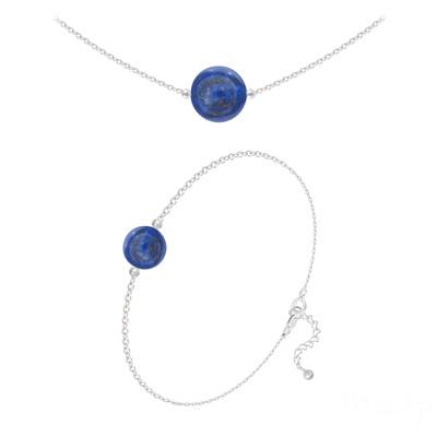 Parure en Pierre Naturelle Parure en Argent et Pierres Naturelles 10mm / 8mm - Lapis Lazuli