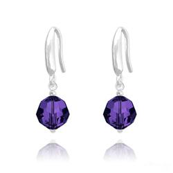 Boucles d'Oreilles Rondes à Facettes 8mm en Argent et Cristal Purple Velvet