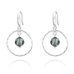 Boucles d'Oreilles Anneau Torsadé en Argent et Cristal 8mm - Black Diamond