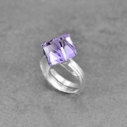 Bague Cube 8mm en Argent et Cristal Violet