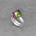 Wholesale Cube 8mm Silver Ring with Swarovski Crystal - Vitrail Medium