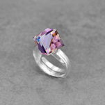 Wholesale Cube 8mm Silver Ring with Swarovski Crystal - Vitrail Light