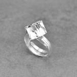 Wholesale Cube 8mm Silver Ring with Swarovski Crystal - White