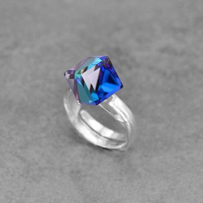 Bague en Cristal et Argent Bague Cube 8mm en Argent et Cristal Bleu Bermude