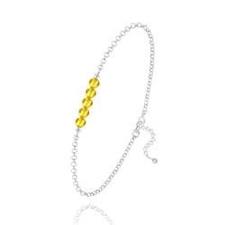 Bracelet en Cristal et Argent Bracelet 5 Perles à Facettes en Cristal et Argent - Sun Flower