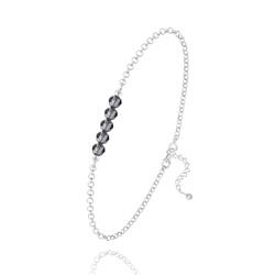 Bracelet 5 Perles à Facettes en Cristal et Argent - Silver Night