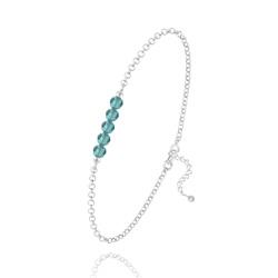 Bracelet 5 Perles à Facettes en Cristal et Argent - Bleu Zircon