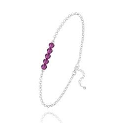 Bracelet 5 Perles à Facettes en Cristal et Argent - Fuchsia