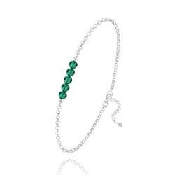 Bracelet 5 Perles à Facettes en Cristal et Argent - Emeraude
