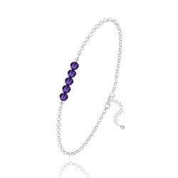 Bracelet 5 Perles à Facettes en Cristal et Argent - Purple Velvet