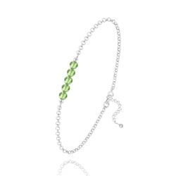 Bracelet 5 Perles à Facettes en Cristal et Argent - Vert Péridot