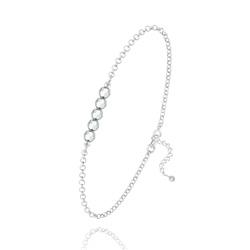 Bracelet 5 Perles à Facettes en Cristal et Argent - Argenté