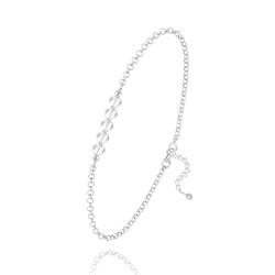 Bracelet 5 Perles à Facettes en Cristal et Argent - Blanc