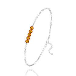 Bracelet 5 Perles à Facettes en Cristal et Argent - Fire Opal