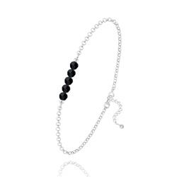 Bracelet 5 Perles à Facettes en Cristal et Argent - Jet (Noir)