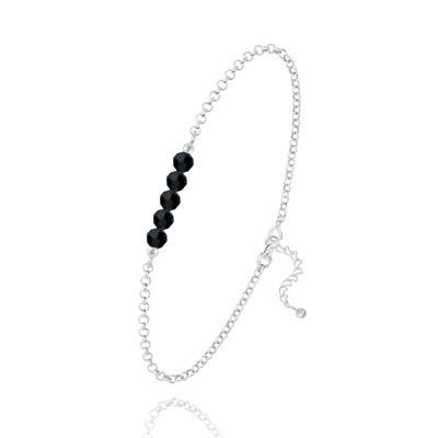 Bracelet en Cristal et Argent Bracelet 5 Perles à Facettes en Cristal et Argent - Jet (Noir)