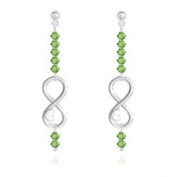 Boucles d'Oreilles Coeur sur Infini en Argent et Cristal Vert Péridot