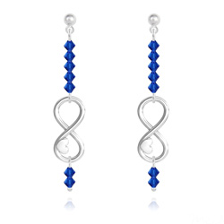 Boucles d'Oreilles Coeur sur Infini en Argent et Cristal Capri Blue