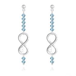 Boucles d'Oreilles Coeur sur Infini en Argent et Cristal Bleu