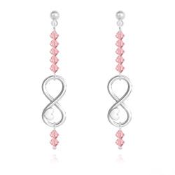 Boucles d'Oreilles Coeur sur Infini en Argent et Cristal Light Rose