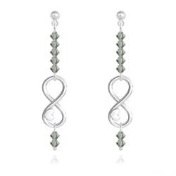 Boucles d'Oreilles Coeur sur Infini en Argent et Cristal Black Diamond