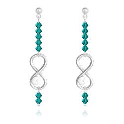 Boucles d'Oreilles Coeur sur Infini en Argent et Cristal Bleu Zircon