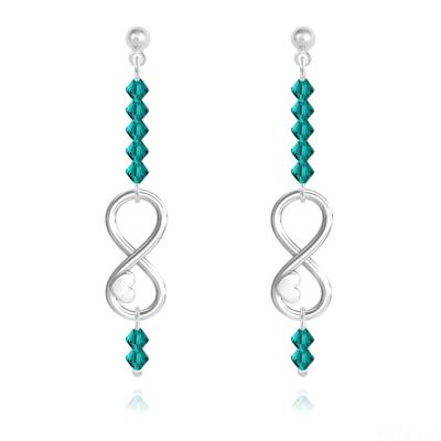 Boucles d'Oreilles en Cristal et Argent Boucles d'Oreilles Coeur sur Infini en Argent et Cristal Bleu Zircon