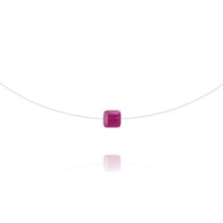 Ras de Cou Cube 6mm sur Fil Nylon Transparent et Argent - Fuchsia