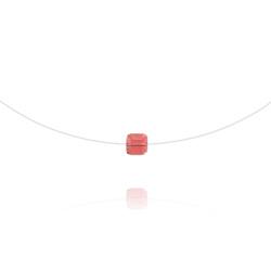 Ras de Cou Cube 6mm sur Fil Nylon Transparent et Argent - Rose