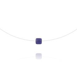 Ras de Cou Cube 6mm sur Fil Nylon Transparent et Argent - Tanzanite