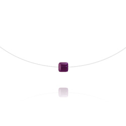 Ras de Cou Cube 6mm sur Fil Nylon Transparent et Argent - Améthyste