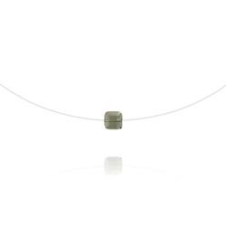 Collier en Cristal et Argent Ras de Cou Cube 6mm sur Fil Nylon Transparent et Argent - Black Diamond