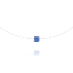 Ras de Cou Cube 6mm sur Fil Nylon Transparent et Argent - Light Sapphire