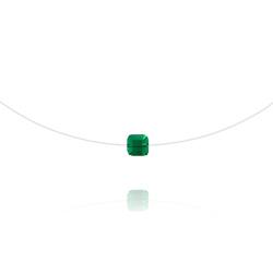Collier en Cristal et Argent Ras de Cou Cube 6mm sur Fil Nylon Transparent et Argent - Emeraude