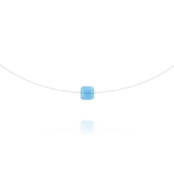 Ras de Cou Cube 6mm sur Fil Nylon Transparent et Argent - Bleu