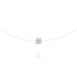 Ras de Cou Cube 6mm sur Fil Nylon Transparent et Argent - Blanc