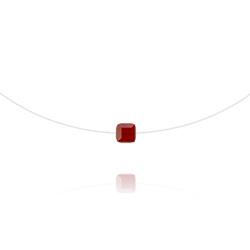 Ras de Cou Cube 6mm sur Fil Nylon Transparent et Argent - Rouge Siam