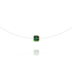 Ras de Cou Cube 6mm sur Fil Nylon Transparent et Argent - Vitrail Medium