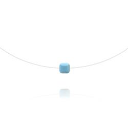 Ras de Cou Cube 6mm sur Fil Nylon Transparent et Argent - Turquoise