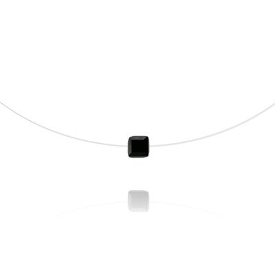 Collier en Cristal et Argent Ras de Cou Cube 6mm sur Fil Nylon Transparent et Argent - Jet (Noir)