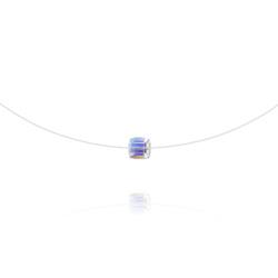 Ras de Cou Cube 6mm sur Fil Nylon Transparent et Argent - Aurore Boréale