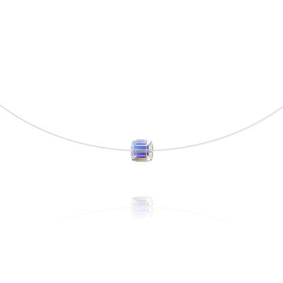 Collier en Cristal et Argent Ras de Cou Cube 6mm sur Fil Nylon Transparent et Argent - Aurore Boréale