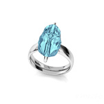 Wholesale Scarab 12mm Silver Ring with Swarovski Crystal - Aquamarine